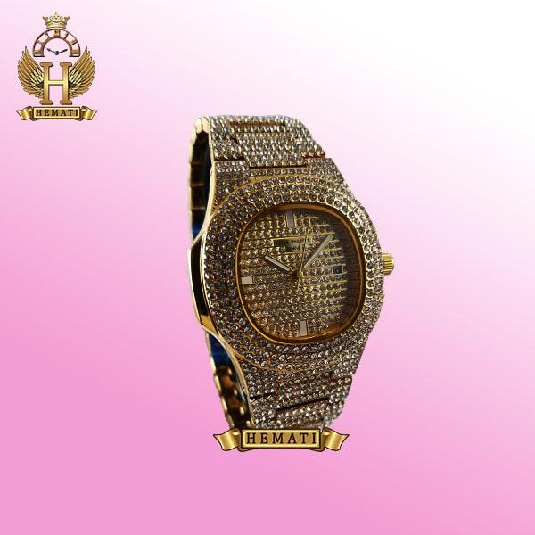 خرید ساعت پتک فیلیپ نگین دار مدل ناتیلوس به رنگ طلایی