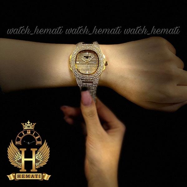 خرید اینترنتی ساعت پتک فیلیپ نگین دار مدل ناتیلوس به رنگ طلایی