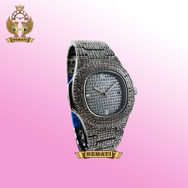 خرید اینترنتی ساعت پتک فیلیپ نگین دار مدل ناتیلوس به رنگ نقره ای