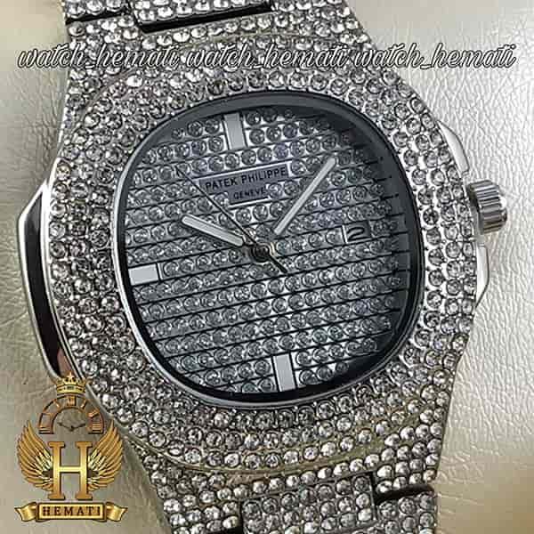 خرید انلاین ساعت پتک فیلیپ نگین دار مدل ناتیلوس به رنگ نقره ای