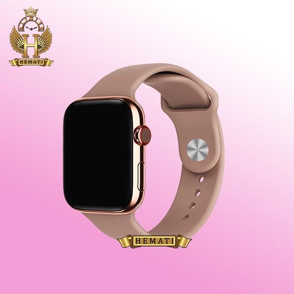 ساعت هوشمند smart watch mc72pro 2021 رزگلد براق با بند صورتی با منوی فارسی