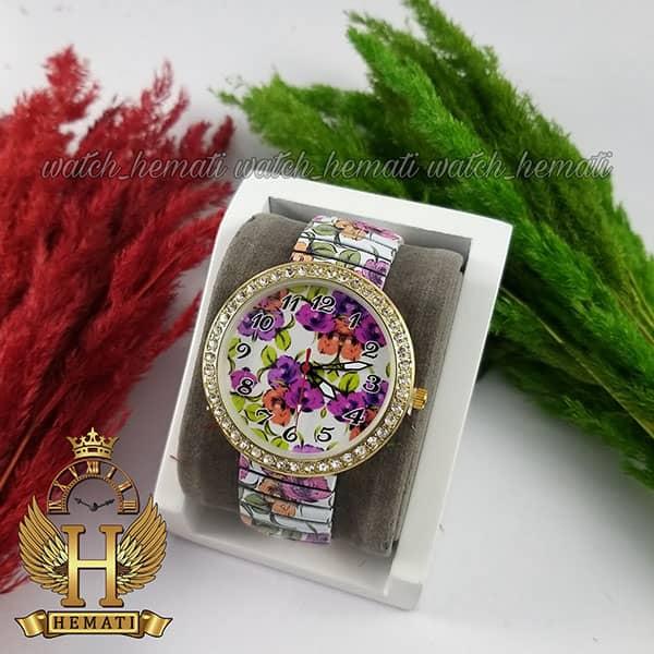خرید ، قیمت ، مشخصات ساعت دخترانه فانتزی با بند کشی و طرح گل بنفش
