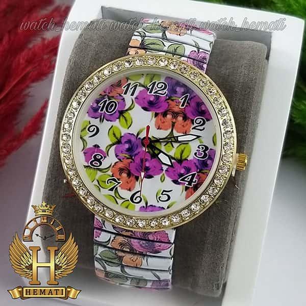 خرید ارزان ساعت دخترانه فانتزی با بند کشی و طرح گل بنفش