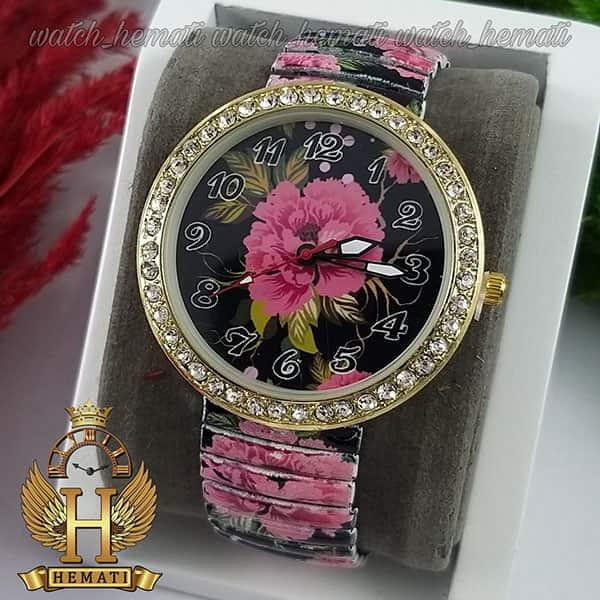 خرید ، قیمت ، مشخصات ساعت دخترانه فانتزی با بند کشی و طرح گل قرمز و مشکی