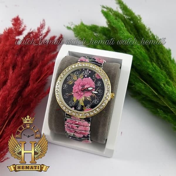 خرید ارزان ساعت دخترانه فانتزی با بند کشی و طرح گل قرمز و مشکی