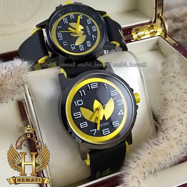 خرید ، قیمت ، مشخصات ساعت ست زنانه و مردانه آدیداس مشکی زرد