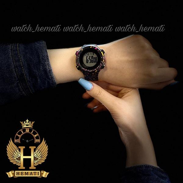 خرید ارزان ساعت اسپرت بنمی BNMI 1803L آبرنگی سرخابی و زرد