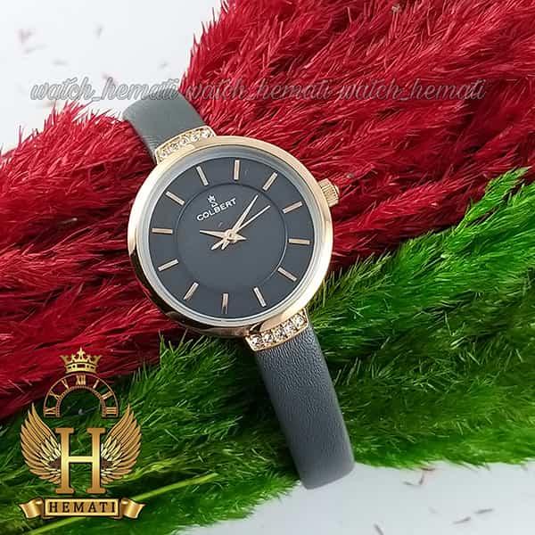 مشخصات ساعت مچی دخترانه کلبرت مدل COLBERT 0104L قاب رزگلد طوسی و مشکی