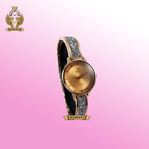 خرید ساعت زنانه داتیس DATIS D8341CL اورجینال با نگین سوارفسکی رنگ رزگلد شیشه کافی صفحه نقره ای