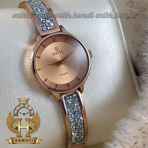 خرید ساعت زنانه داتیس رزگلد مدل D8341CL صفحه نقره ای با شیشه کافی