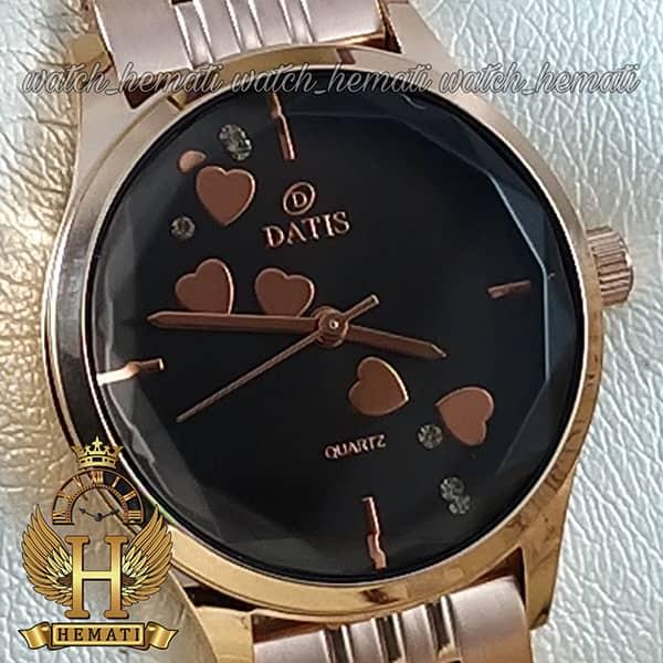 ساعت زنانه داتیس اورجینال مدل DATIS D8420EL رزگلد شیشه کافی صفحه مشکی