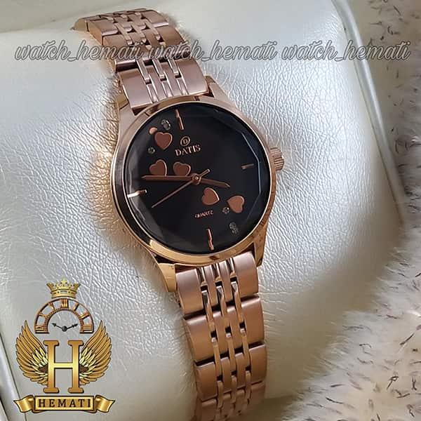 خرید ساعت زنانه داتیس اورجینال مدل DATIS D8420EL رزگلد شیشه کافی صفحه مشکی