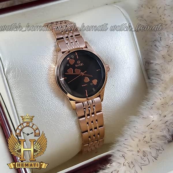 خرید اینترنتی ساعت زنانه داتیس اورجینال مدل DATIS D8420EL رزگلد شیشه کافی صفحه مشکی