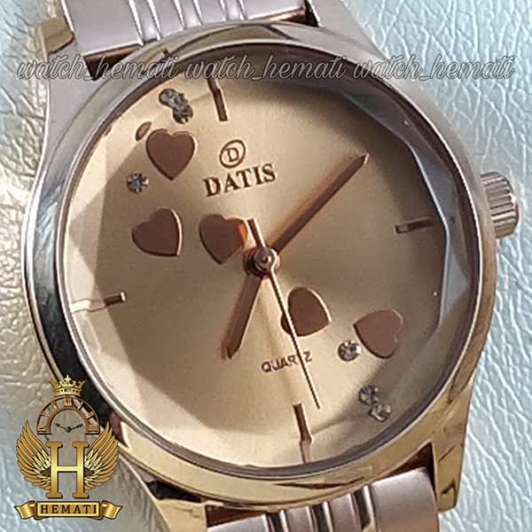 ساعت زنانه داتیس اورجینال مدل DATIS D8420EL رزگلد شیشه کافی صفحه نقره ای