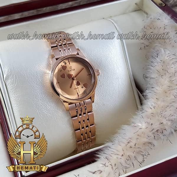خرید انلاین ساعت زنانه داتیس اورجینال مدل DATIS D8420EL رزگلد شیشه کافی صفحه نقره ای
