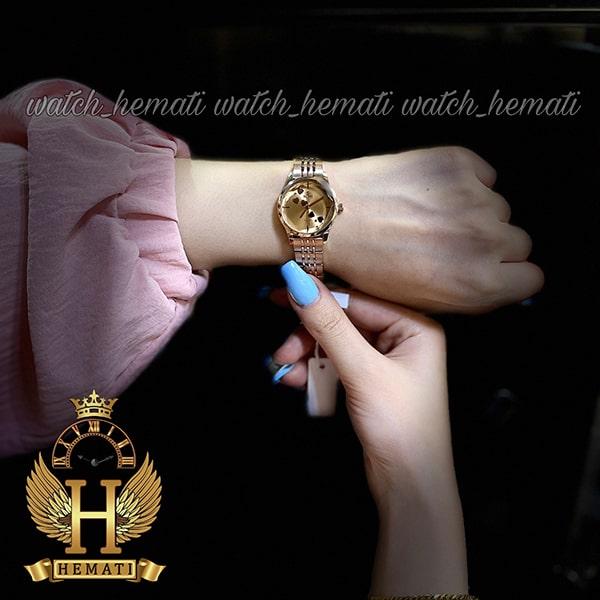 خرید اینترنتی ساعت زنانه داتیس اورجینال مدل DATIS D8420EL رزگلد شیشه کافی صفحه نقره ای