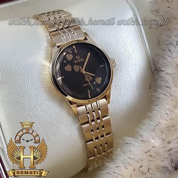 خرید اینترنتی ساعت مچی زنانه داتیس اورجینال مدل DATIS D8420EL طلایی شیشه کافی صفحه مشکی