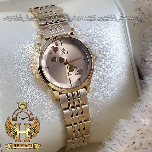 خرید ساعت مچی زنانه داتیس اورجینال مدل DATIS D8420EL طلایی شیشه کافی صفحه نقره ای