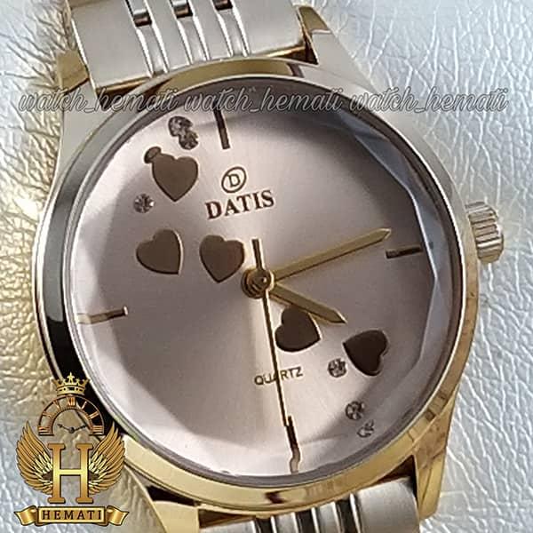 خرید اینترنتی ساعت مچی زنانه داتیس اورجینال مدل DATIS D8420EL طلایی شیشه کافی صفحه نقره ای