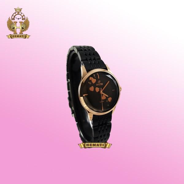 خرید ساعت مچی زنانه داتیس اورجینال مدل DATIS D8420EL مشکی رزگلد شیشه کافی صفحه مشکی