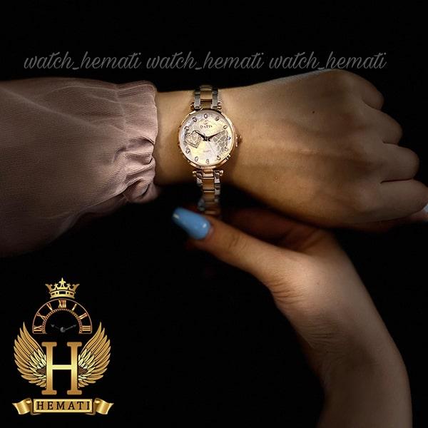 خرید ساعت زنانه داتیس اورجینال مدل DATIS D8463L نقره ای رزگلد شیشه بی رنگ