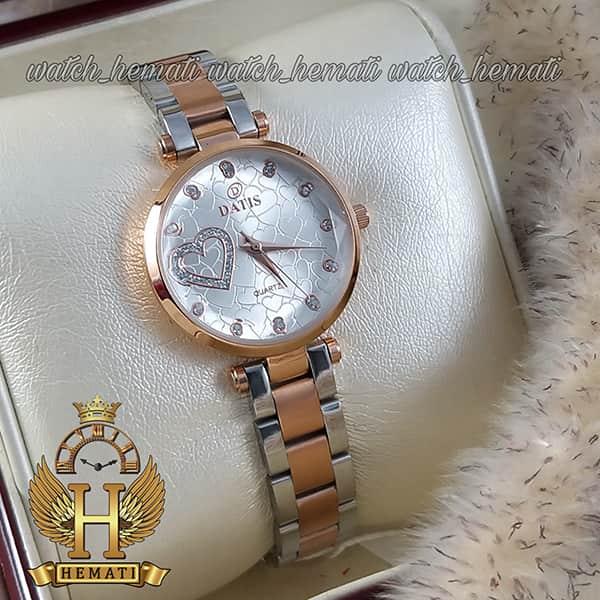 خرید اینترنتی ساعت زنانه داتیس اورجینال مدل DATIS D8463L نقره ای رزگلد شیشه بی رنگ