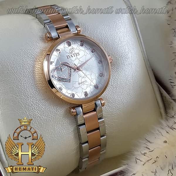 خرید ساعت مچی زنانه داتیس اورجینال مدل DATIS D8463L نقره ای رزگلد شیشه بی رنگ