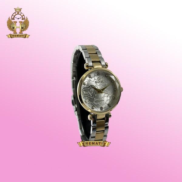 ساعت زنانه داتیس اورجینال مدل DATIS D8463L نقره ای طلایی شیشه بی رنگ
