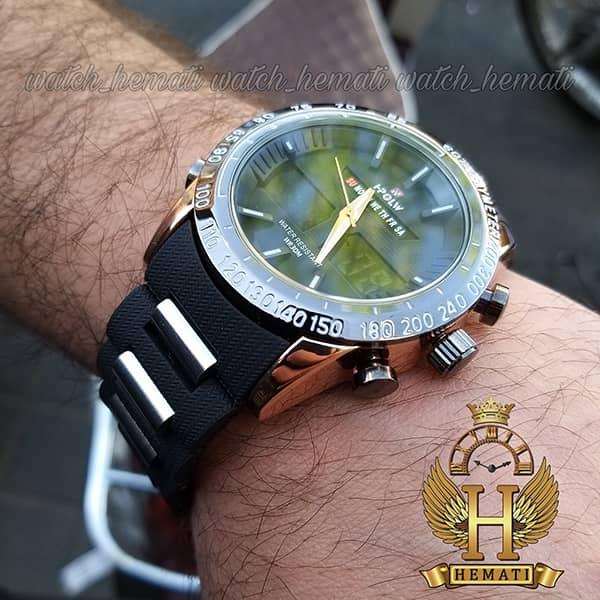 خرید انلاین ساعت مردانه دو زمانه اچ پلو HPOLW fsk1519 مشکی_رزگلد