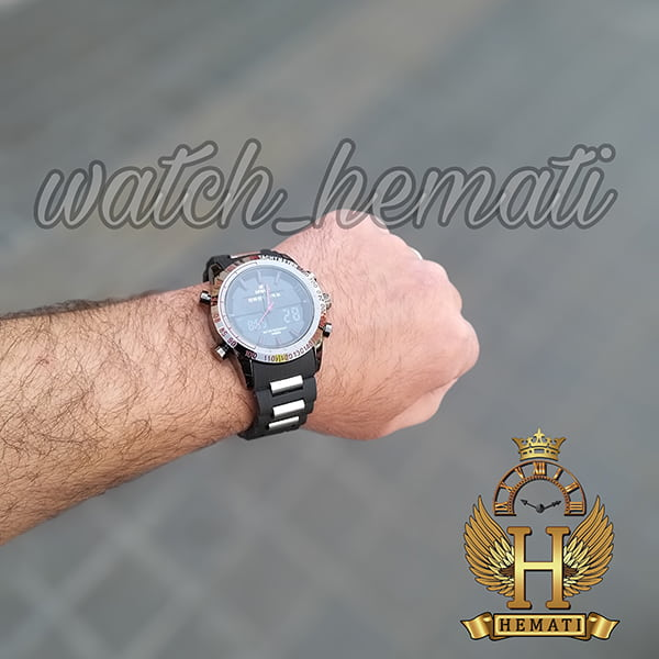 خرید ساعت مردانه دو زمانه اچ پلو HPOLW fsk1519 مشکی_قرمز