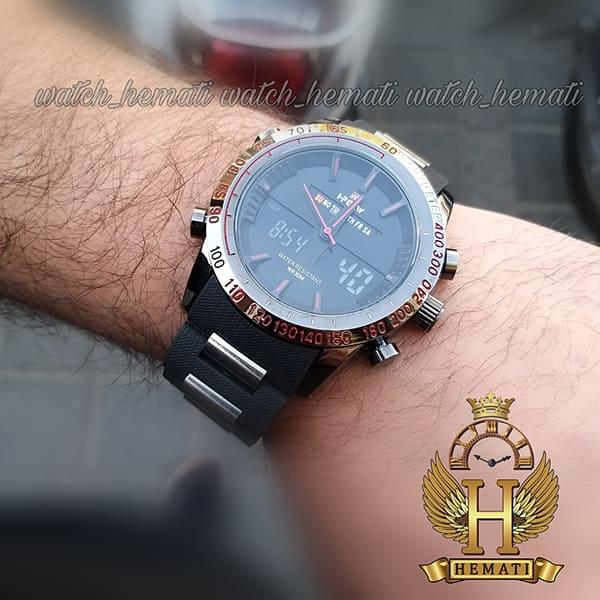 خرید انلاین ساعت مردانه دو زمانه اچ پلو HPOLW fsk1519 مشکی_قرمز