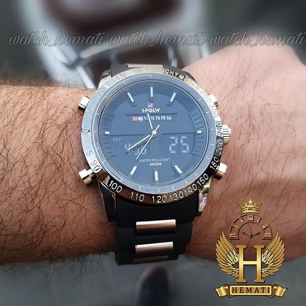 خرید ساعت مردانه دو زمانه اچ پلو HPOLW fsk1519 مشکی_نقره ای