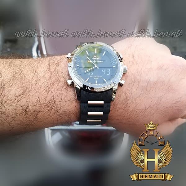 خرید اینترنتی ساعت مردانه دو زمانه اچ پلو HPOLW fsk1519 مشکی_نقره ای