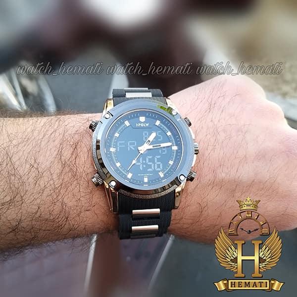 قیمت ساعت مردانه دو زمانه اچ پلو HPOLW fsk1801 مشکی رزگلد