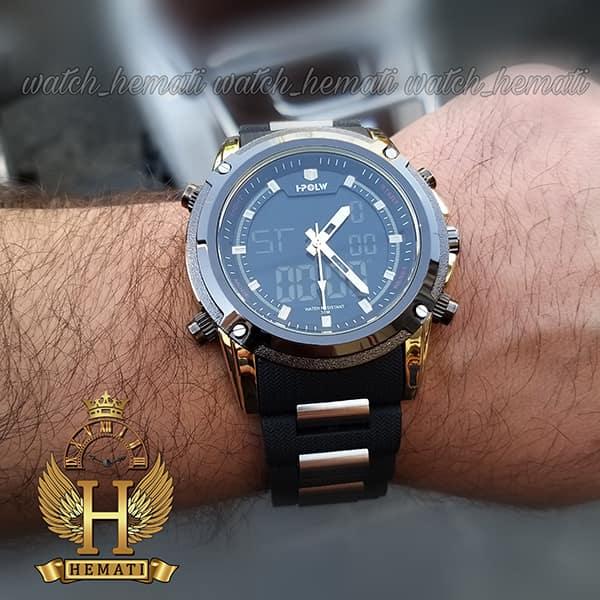 قیمت ساعت مردانه دو زمانه اچ پلو HPOLW fsk1801 مشکی طلایی