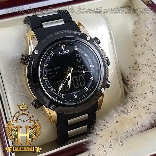 ساعت مچی مردانه دو زمانه اچ پلو HPOLW fsk1801 مشکی طلایی