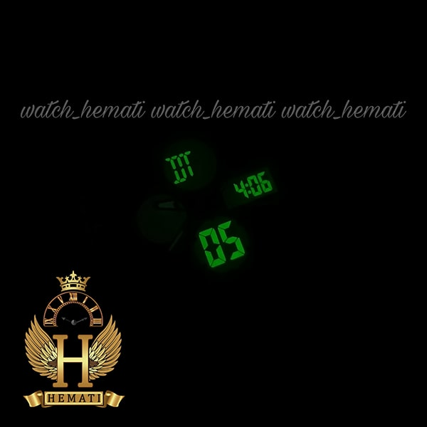 چراغ دید در شب ساعت مردانه دو زمانه اچ پلو HPOLW H9908 مشکی_رزگلد