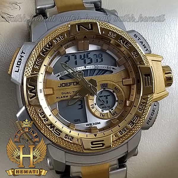 خرید اینترنتی ساعت مردانه دو زمانه جوفاکس مدل JOEFOX 1514L نقره ای طلایی