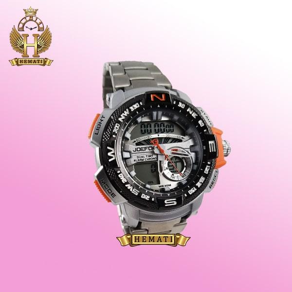 ساعت مردانه دو زمانه جوفاکس مدل JOEFOX 1514G نقره ای نارنجی
