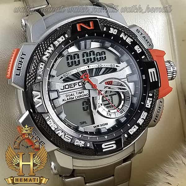 مشخصات ساعت مردانه دو زمانه جوفاکس مدل JOEFOX 1514G نقره ای نارنجی