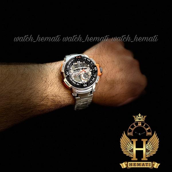 خرید اینترنتی ساعت مردانه دو زمانه جوفاکس مدل JOEFOX 1514G نقره ای نارنجی