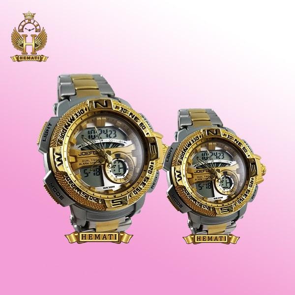 خرید، قیمت ، مشخصات ساعت ست زنانه و مردانه مردانه دو زمانه جوفاکس مدل JOEFOX 1514L نقره ای طلایی