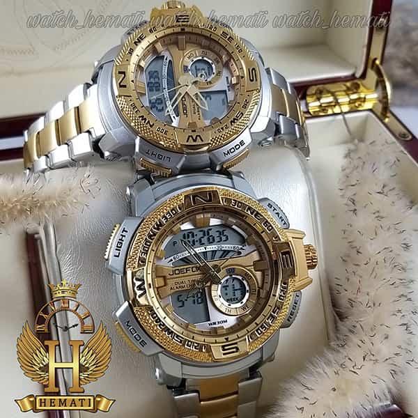 خرید اینترنتی ساعت ست زنانه و مردانه مردانه دو زمانه جوفاکس مدل JOEFOX 1514G_L نقره ای طلایی