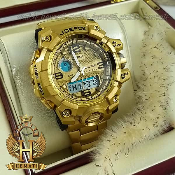 خرید اینترنتی ساعت مردانه دو زمانه جوفاکس JOEFOX 1523G طلایی