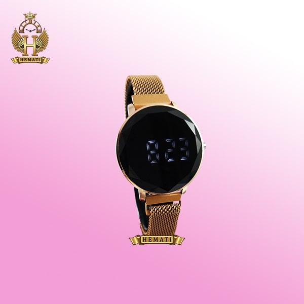 خرید ساعت ال ای دی زنانه قفل مگنتی مدل دایره ای دکمه ای رنگ رزگلد