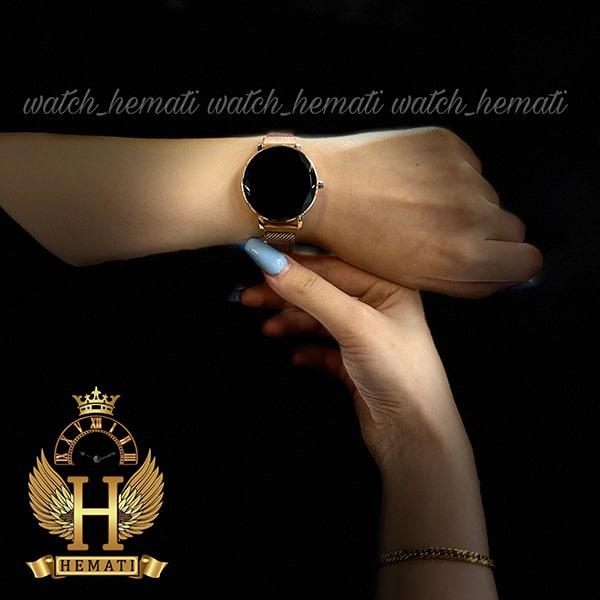 خرید انلاین ساعت ال ای دی زنانه قفل مگنتی مدل دایره ای دکمه ای رنگ رزگلد