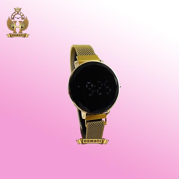 ساعت ال ای دی زنانه قفل مگنتی مدل دایره ای دکمه ای رنگ طلایی