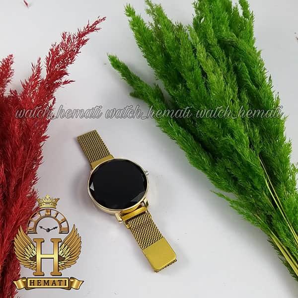 خرید ساعت ال ای دی زنانه قفل مگنتی مدل دایره ای دکمه ای رنگ طلایی