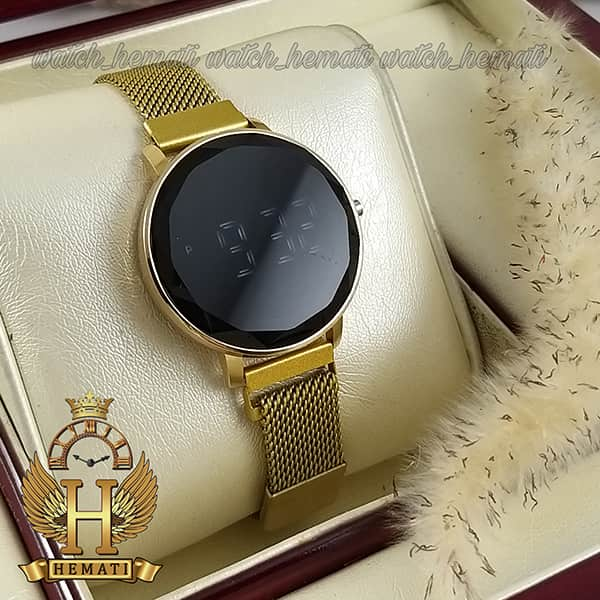 قیمت ساعت ال ای دی زنانه قفل مگنتی مدل دایره ای دکمه ای رنگ طلایی