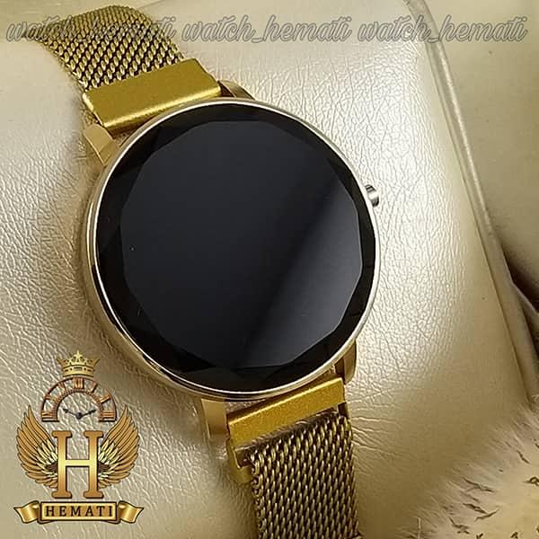 خرید انلاین ساعت ال ای دی زنانه قفل مگنتی مدل دایره ای دکمه ای رنگ طلایی